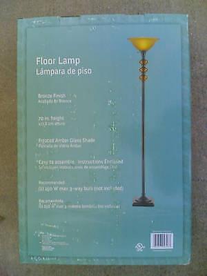 NIB Elegant Floor Lamp TORCHIERE w/ Nice Glass Accent Accent Torchiere Floor Lamp