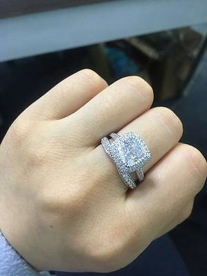 1 1/10ct Cushion Halo Solitaire Engagement Wedding Ring Set 14K White Gold