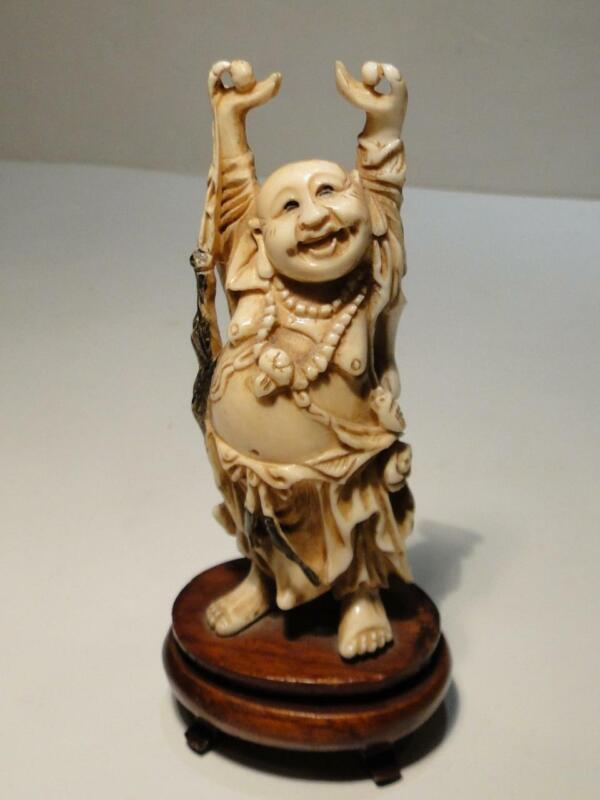 Vintage Resin Buddha with Arms Upward & Balls in Hand