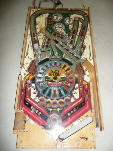 1986 Williams High Speed Pinball Machine Original Playfield W/ Wiring Harness