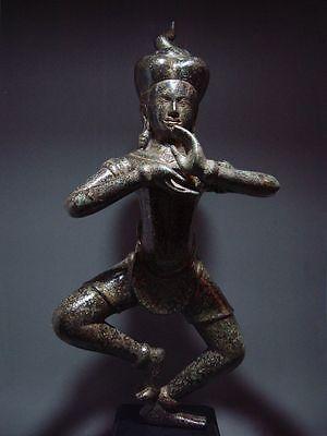 KHMER BRONZE STATUE OF A FEMALE CELESTIAL MAIDEN 'APSARA', CAMBODIA 19/20th C.