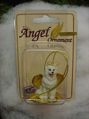 AMERICAN ESKIMO puppy DOG ANGEL Ornament Figurine PAINTED Statue NEW Christmas
