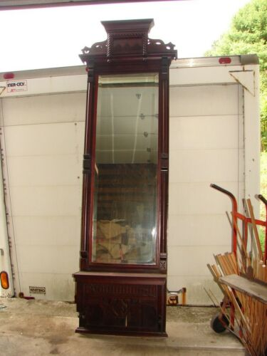 Antique Walnut Eastlake Victorian Pier Mirror w/ Marble Shelf - Old & Original