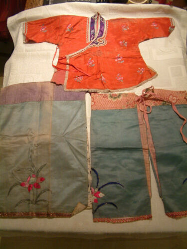 Antique Chinese group of Childs cloths Embroidered Jacket and 3 Trousers