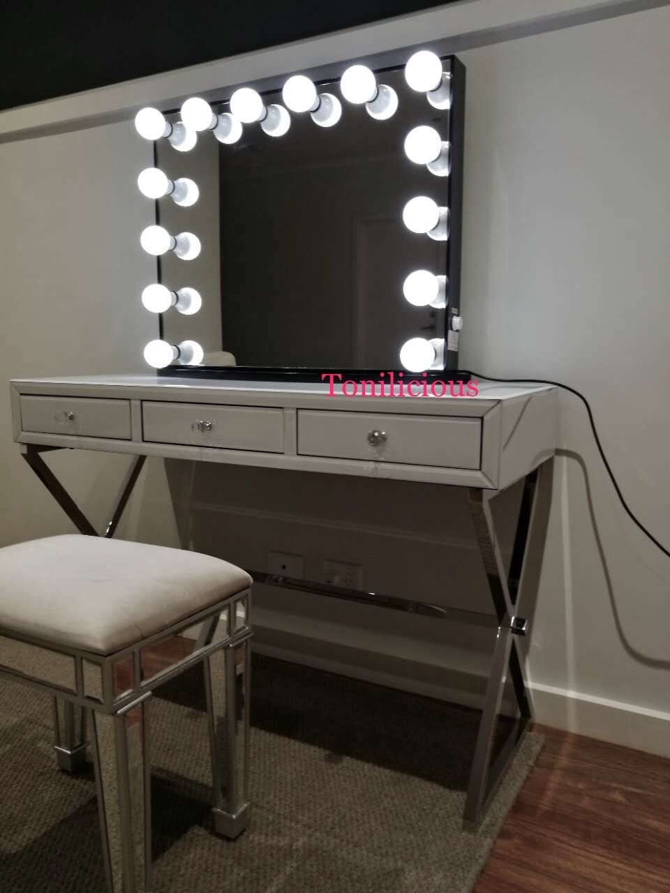 Large Frameless Hollywood Makeup Beauty Vanity Mirror With Lights Saa Approved