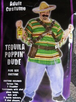 Tequila Poppin Dude Costume Adult Plus Size Mexican Bartender Alcohol Spanish
