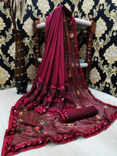 Maroon Designer Print Sana Lycra Saree Sari Blouse Indian Traditional Women Wear
