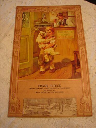 Vintage 1943 Frank Sypeck Groceries Calendar BOY CLAIMING DOG West Hazleton, Pa