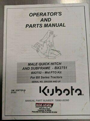 Kubota Operstor Parts Manual Bx2751 70060-00395