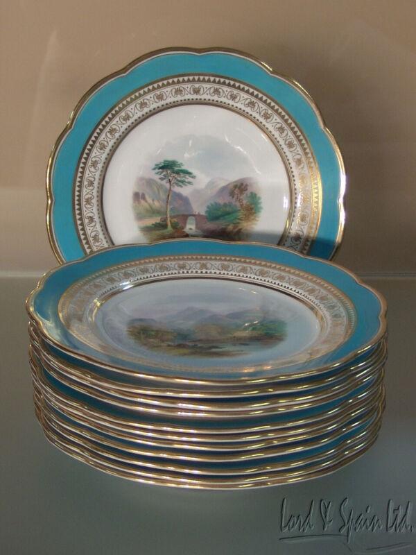 """12 Antique Davenport Hand Painted Different Scenic Landscape 9 1/4"""" Plates"""