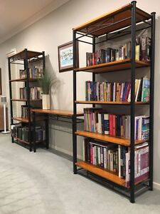 Modern tall timber and iron bookshelves and matching side table Sandringham Rockdale Area Preview
