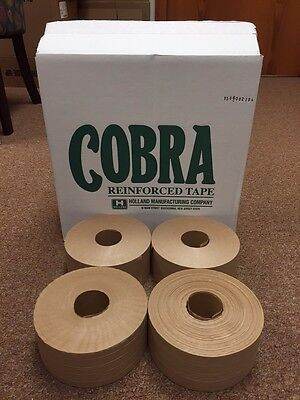 4 Rolls Reinforced Kraft Gummed Paper Tape Industrial Grade 3''/ 70mm x 450'