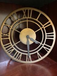 RARE Pottery Barn Skeleton Tower Style Wall Clock Distressed Brass Finish Metal