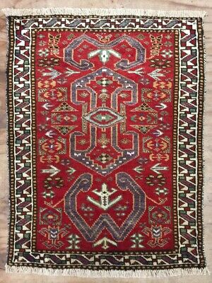 Old Antique Vintage Handmade Persian Wool Rug Carpet Shabby Chic,Size:2.2by2.0Ft
