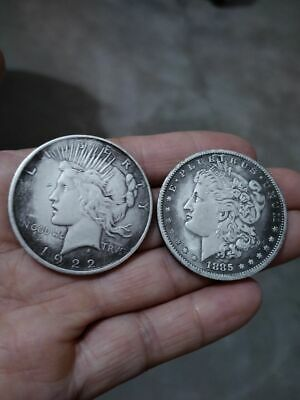 Morgan Peace Silver Dollar Lot Of two Coins 1 Morgan 1885 $1, 1 Peace 1922 $1