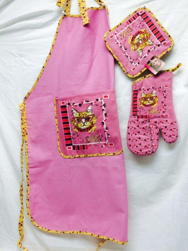 White Diva Cat on Pink apron, pot holder and oven mitt