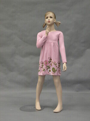Realistic 7 Year Old Child Girl Fiberglass Mannequin With Face And Molded Hair