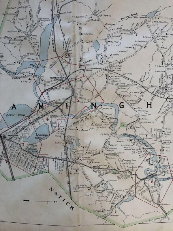 ORIGINAL 1908 MIDDLESEX COUNTY, MA FRAMINGHAM SUDBURY RIVER PLAT ATLAS MAP