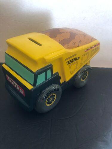 Tonka Toy Dump Truck Ceramic Piggy Bank Hasbro Yellow Heavy Equipment