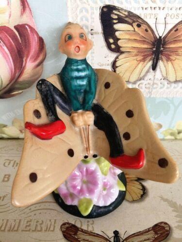 UNLISTING -Vtg PIXIE riding BUTTERFLY Jiminy Cricket JAPAN Porcelain Figure  Bug