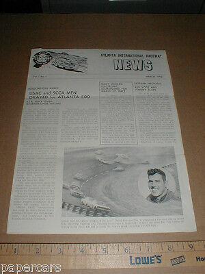 1962  1 Atlanta Raceway Nascar Usac Original Racing News Vintage Cotton Owens