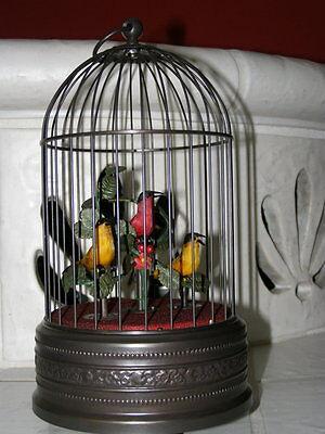Traumhafte Spieluhr Singvogelautomat Vogelkäfig mit 3 Vögeln !!!!!!!!!!!!!!!!!