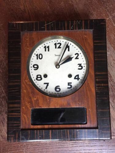 rare YAMATO Japan Art Deco mechanical wall clock burled wood 1930s - runs well!