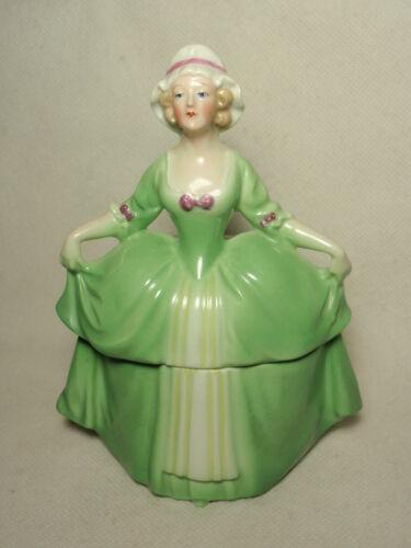 Vtg Madame Pompadour Porcelain Green Dresser Doll Vanity Trinket Box Germany