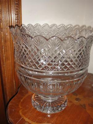 """Waterford  Diamond And Fan Cutter's Special 10"""" Crystal  Footed Bowl New in Box"""