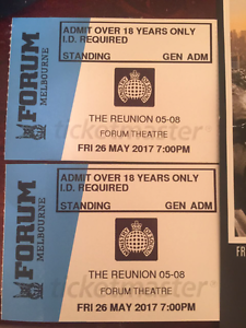2 x Ministry Of Sound - The Reunion tickets for sale. Endeavour Hills Casey Area Preview