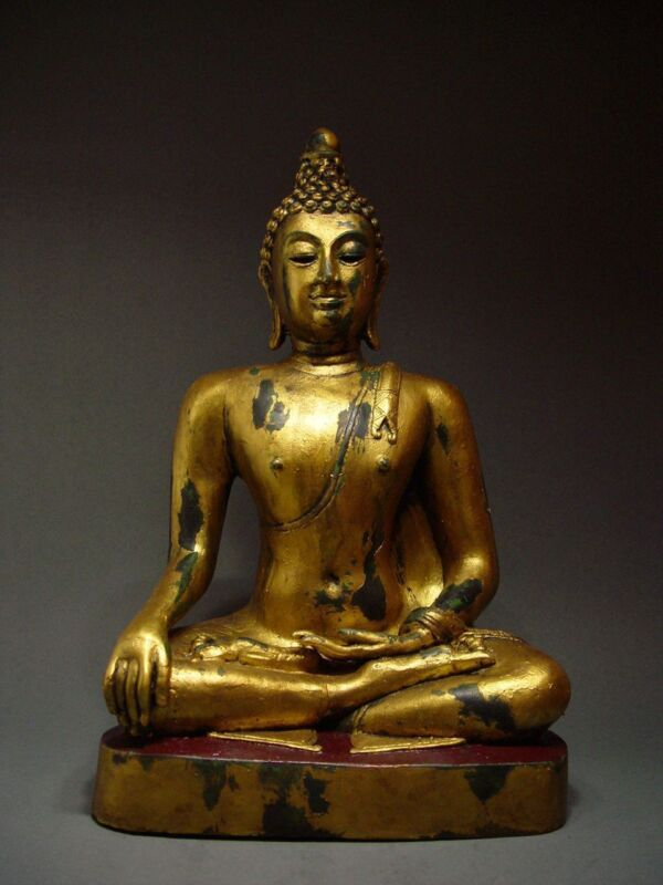 ANTIQUE BRONZE FIGURE OF A MEDITATING CHIENGSAEN BUDDHA, TEMPLE RELIC 19th C.