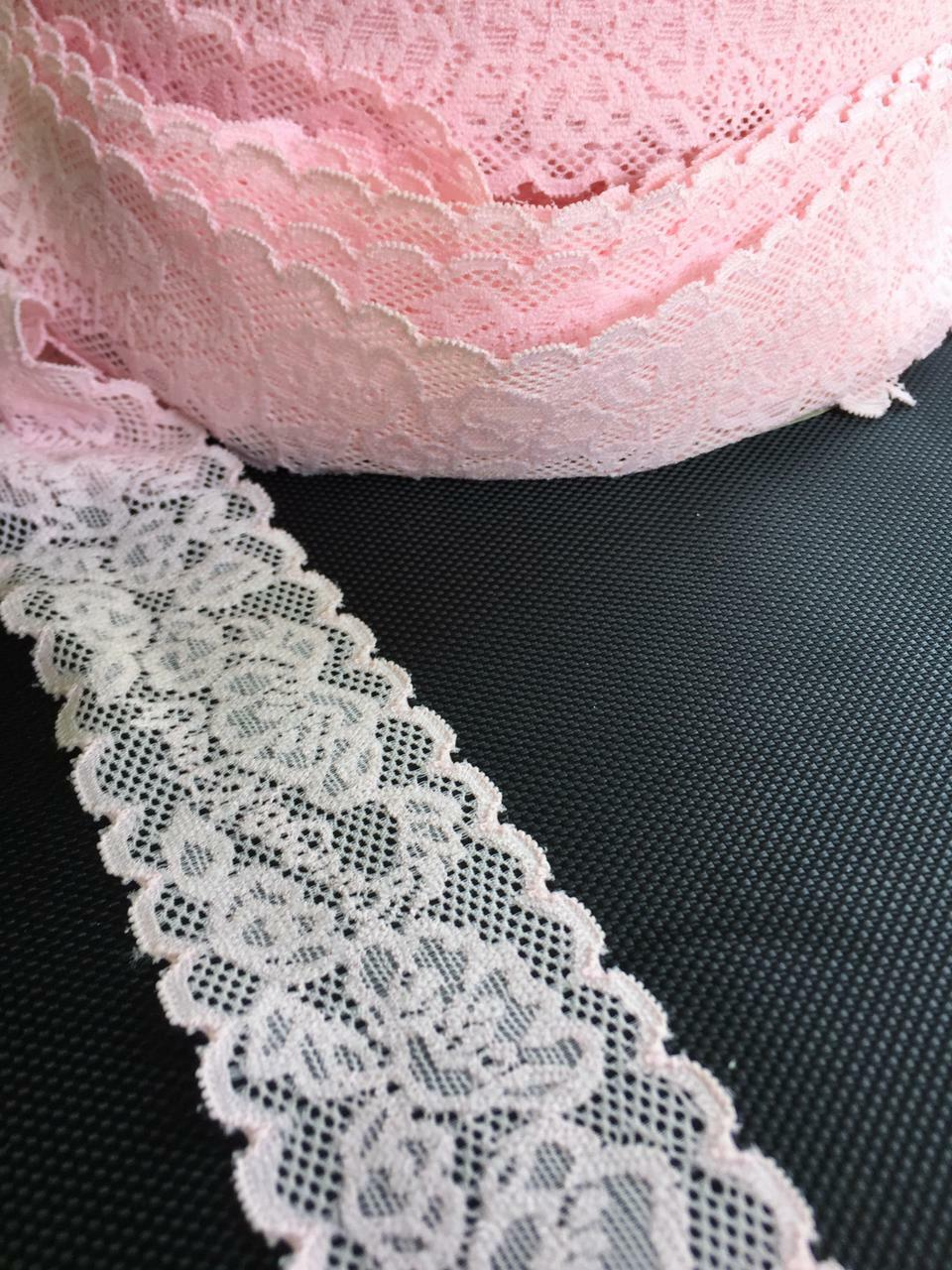 10m/3m Nylon Spitze Borte Elegante 4, 5cm Pink elastisch stoff  NR