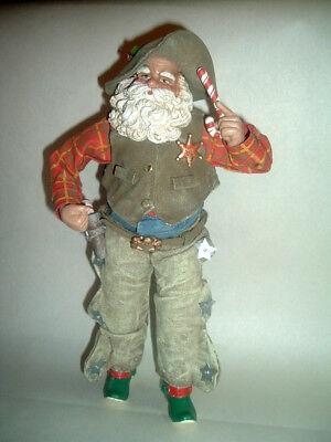 Santa Claus Western Cowboy Figurine ~ Cloth Mache Clothes ~ Candy Cane - Cowboy Santa Claus