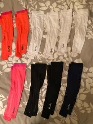 SMALL (S) Rapha Cycling Lightweight Arm Warmer - coral, white, pink, (Cycling Arm Warmers)