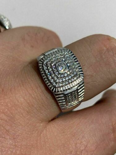 Men S Solid 925 Sterling Silver 2ct Lab Diamond Pinky Ring Icy Bust Down Sz 7 13 Ebay