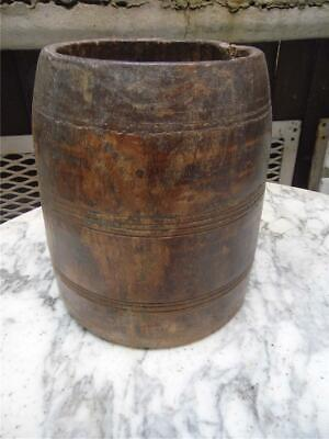BEAUTIFUL ANTIQUE HAND CARVED SOLID TEAK WOOD SOUTHERN INDIAN RICE POT CONTAINER