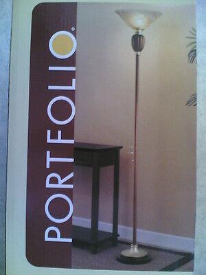 NIB Nice Two-Tone Metal-Resin Floor Lamp TORCHIERE (resin accent piece) Accent Torchiere Floor Lamp