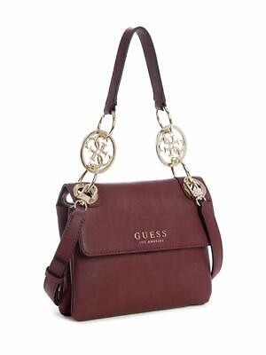 GUESS Alana Top-Handle Small Crossbody Bag Burgundy Gold Logo, NWT
