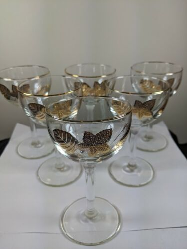 ~ 6 ~  Vintage Mid Century 22K Gold Leaf Hollywood Regency Coupe Glasses 1950