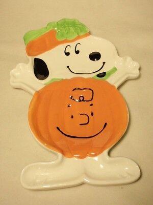 Peanuts Snoopy Charlie Brown Ceramic Halloween Pumpkin Candy Plate Dish