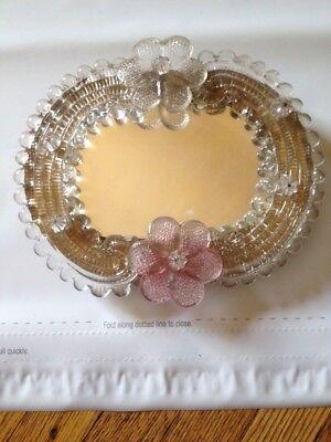 Small Murano Glass Frame Mirror Pink Flowers Venetian
