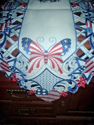 Patriotic Butterfly Hearts n Stars - Cutwork Table Runner - July 4th - - Patriotic Table Runner
