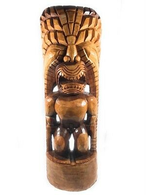 "48"" Tiki God Of King Kamehameha KANALOA Statue. Outdoor Art.Wood Carving."