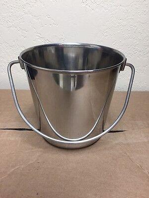 NEW Stainless Steel Pail Bucket 2 Qt Water Food Dog Kennel Milk Ice Heavy Duty