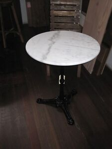 IDEAL SIZE Round White Marble Top Table 60cm wide- DELIVERED EAST COAST*