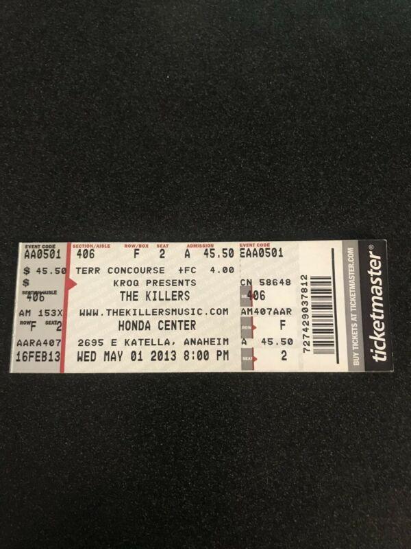 The Killers Honda Center Concert Ticket 5/1/2013