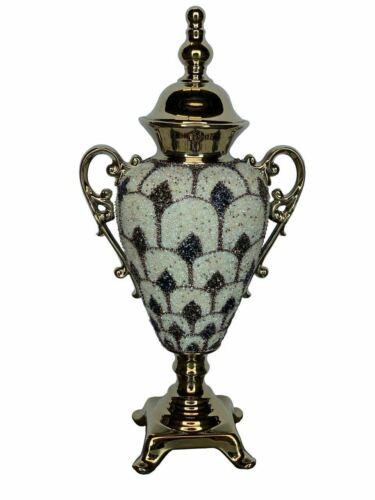 """23.50""""H Elegant Gold Decorate Urn Vase Bowl With Lid Home De"""