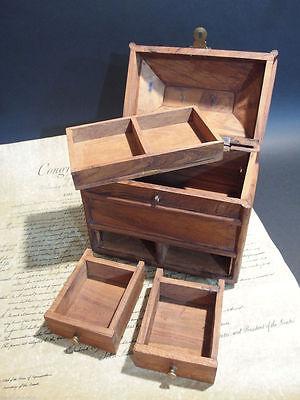 Antique Vintage Style Collectors Campaign Chest Wood Box w Secret Compartments