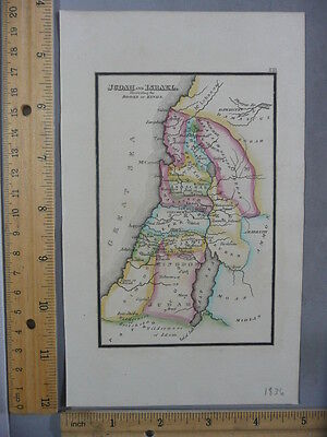 Rare Antique Original VTG 1836 Leavitt Lord & Co Judah Israel Map Engraved Print