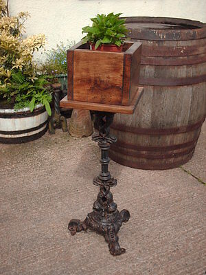 RECLAIMED CAST IRON AND BEECH JARDINIERE / PLANT STAND
